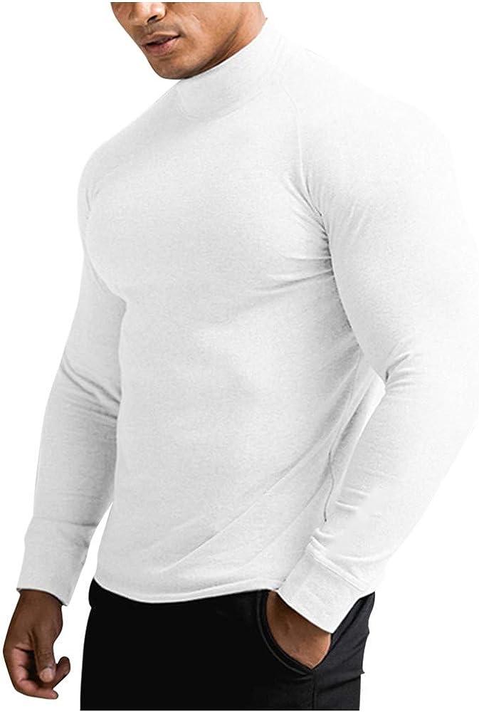 waotier Camisetas Deportivas Camiseta Deportiva de Entrenamiento para Hombre Color Puro Cuello Alto Fitness Sudaderas Manga Larga Slim fit Top Secado rápido: Amazon.es: Ropa y accesorios
