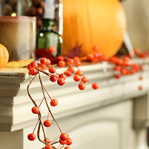 Factory Direct Craft Autumn Orange Berry Garland for Halloween, Fall and Thanksgiving Decorating, 6 Ft