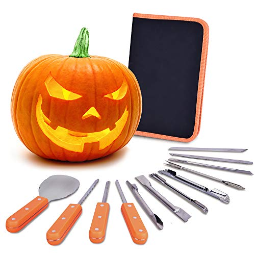 VIVREAL Halloween Pumpkin Carving Kit, 12 Pieces Heavy Duty Stainless Steel Carving Tools Set for Halloween Decoration, Easily Sculpting Jack-O-Lanter