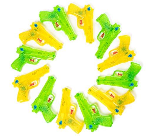 Fun 12 Piece Neon Plastic Squirt Super Soaker Water Gun Assortment 6.5