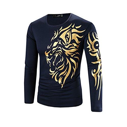 Alamor Heren Leeuw Goud Stempelen Patroon Casual T-Shirt Katoen Gemengde Tops-Donkerblauw-L