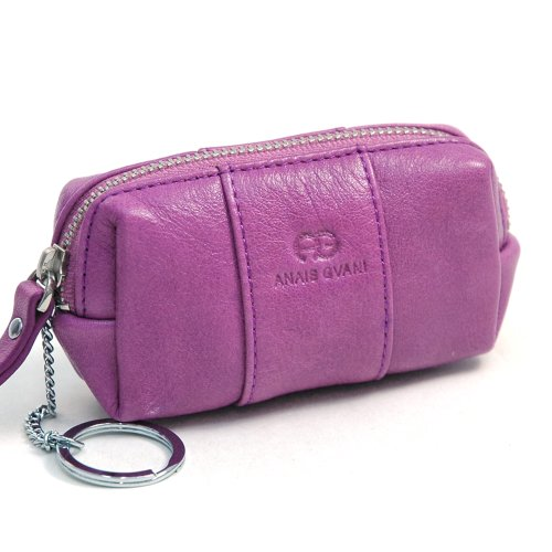 Anais Gvani Women's Genuine Leather Multi-functional Pouch w/ Inside Key Chain -Purple (Shoe Lip Gloss Keychains)