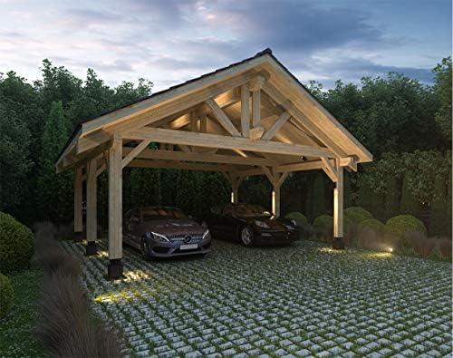 ECOHOUSEMART | Carpa de Madera para 2 vehículos y Cubierta de ...
