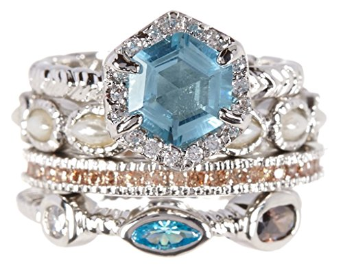 Sky Blue Quartz & Shavonne Wholesale Gemstone Jewelry Stackable Ring Set