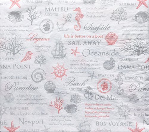 (Nautical Pattern with Ocean Shells, Anchors, Ships, Envogue Bedding Sheet Set, Full Size Luxury 4Piece, 100% Cotton Percale, Casual Comfort, Light Gray and Pink on White, -- Coast to Coast, Coral)
