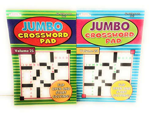 Set of 2 Jumbo Crossword Puzzle Game Pads For Adults; Take it Easy and Relax (200+ Puzzles) Volumes 24 & 25 (Game Puzzle Crossword)