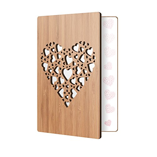 Bamboo Wood Valentine's Day Greeting Card Heart Of Hearts Design: Premium Handmade Wooden Card Perfect To Say I Love You, Happy Anniversary, Just Because, Or A Great Gift For A New Relationship