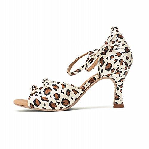 delle Ballo Scarpe Sandali da Raso Leopard Ballo Scarpe Samba Stampa Prestazioni Jazz alla Pelle da Cuoio Cinturino BYLE Caviglia di di Onecolor Adulto con di Scarpe Latino Moderno di Donna gvOnqP