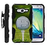 Samsung Galaxy J3 Case | Amp Prime | Express Prime [Hyper Shock] Resistant Hybrid Case Clip Holster Hard Shell Stand Sports and Games Design by TurtleArmor - Golf Ball Tee