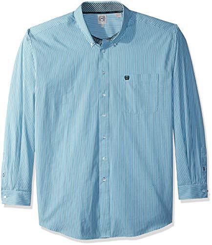 Shirt Stripe Classic Mens (Cinch Men's Classic Fit Long Sleeve Button One Open Pocket Stripe Shirt, White/Teal, M)