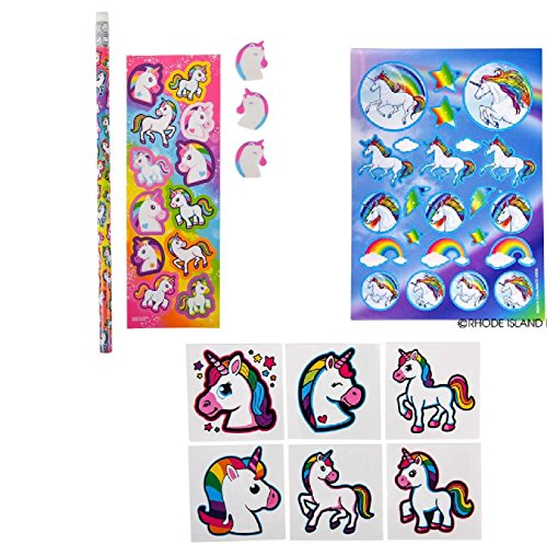 Adorable Unicorn Party Favors / 12 Stationery Sets / 12 Sticker Sheets & 72 Unicorn Tattoos by N2M