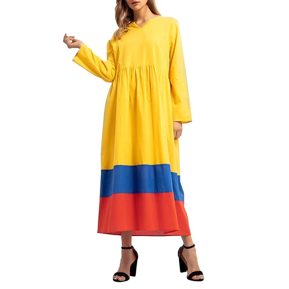 NEW Arriver TOTOD Women Patchwork Long Sleeve V-Neck Islamic Muslim Middle East Maxi Robe Dresses