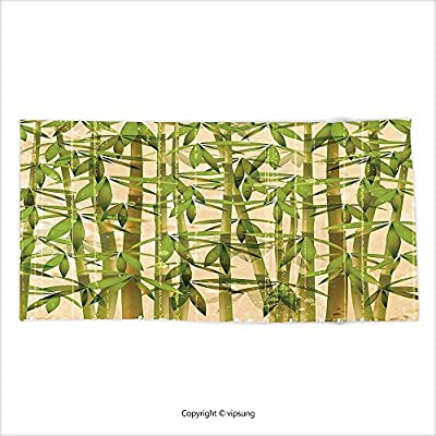 Vipsung Microfiber Ultra Soft Hand Towel Bamboo House Decor Collection Modern Illustration With Japanese Bamboo Reeds On A Vintage Background Art Green Cream For Hotel Spa Beach Pool Bath