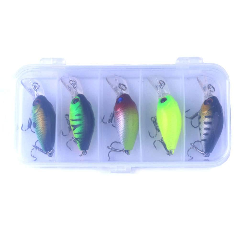 fish 5pcs / 10Pcs Pesca Portable Colorido señuelos del Gancho del ABS de los señuelos de Pesca de Cebo para Agua Dulce del Agua de mar