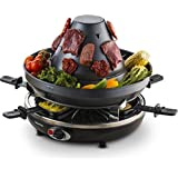 Gourmia GEG1400 Electric Raclette With Vertical Grilling Sombrero & 6 Cheese Melting Trays, Non Stick- Free Recipe Book