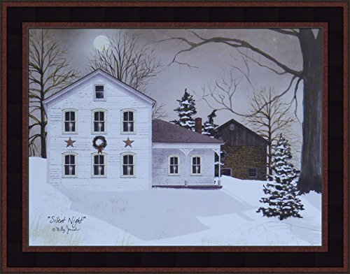 Silent Night by Billy Jacobs 15x19 White Farmhouse Stone Barn Winter Snow Full Moon Primitive Folk Art Print Framed Picture