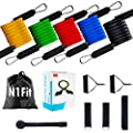 Resistance Bands Set - 11pcs Exercise Bands with Door Anchor, Ankle Straps and Handles - Workout Bands stackable up to 150 lbs - Resistance Bands for Home Workouts, Yoga, Pilates and Physical Therapy