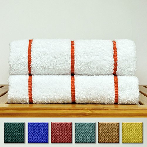 Luxury Hotel Towel Turkish Cotton Extra Large Pool-Beach Towel Set (Set of 2, Brick Red) (Towel Striped Red)