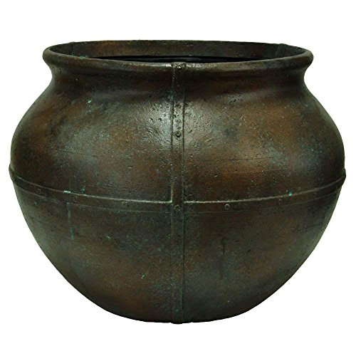 MPG 24 in. Round Copper Patina Cast Stone Caldron Pot by MPG Sport