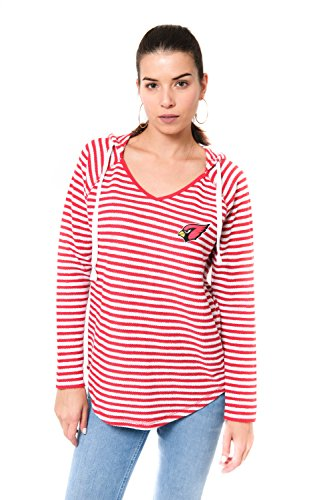Ultra Game Adult Women V-Neck Hoodie Pullover Stripe Sweatshirt, Team Color, Red, X-Large