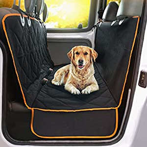 Doggie World Dog Car Seat Cover - Cars, Trucks and Suvs Luxury Full Protector, w/Extra Side Flaps, Seat Belt Openings - Hammock Convertible for Your Pet - Waterproof, Non-Slip - Machine Washable 53