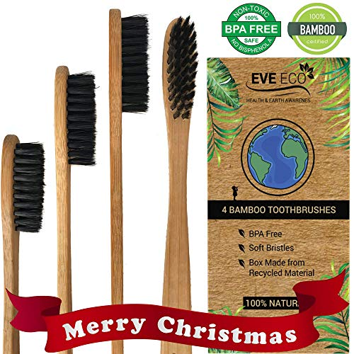 Wood Toothbrush Bamboo | Vegan Charcoal Soft bristles for Sensitive Gums | Organic Biodegradable Wooden BPA Free for Adult & Kids | Eco-Friendly Recycle Natural toothbrushes Set 4 Pack