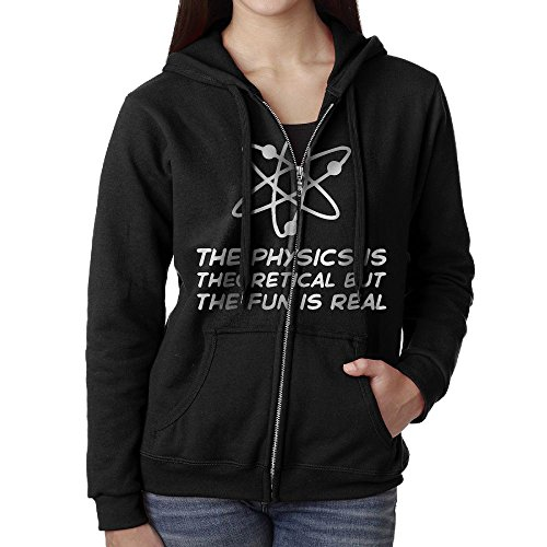 The Physics Is Theoretical But The Fun Is Real1 Casual Womens Full-Zip Sweatshirt Hoodie Jacket Black Medium