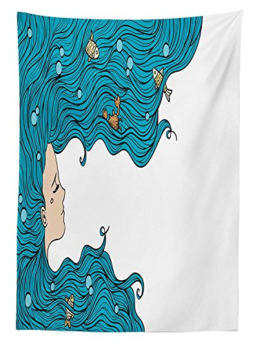 Mermaid Decor Tablecloth Girl with Big Hair Hairstyle Fly Away Fairytale Sleeping Crab Imaginary Artwork Dining Room Kitchen Rectangular Table (Corn Roll Hairstyle)