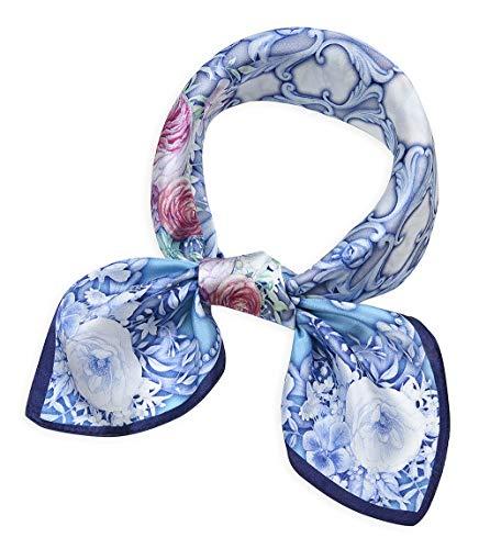 corciova Women 100% Mulberry Silk Neck Scarf Small Square Scarves Neckerchiefs Flowers Baby Blue Eyes