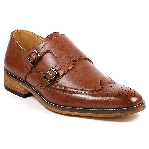 UV SIGNATURE UV042 Men's Double Monk Strap Wing Tip Perforated Slip On Loafers Dress Shoes (9, Brown)