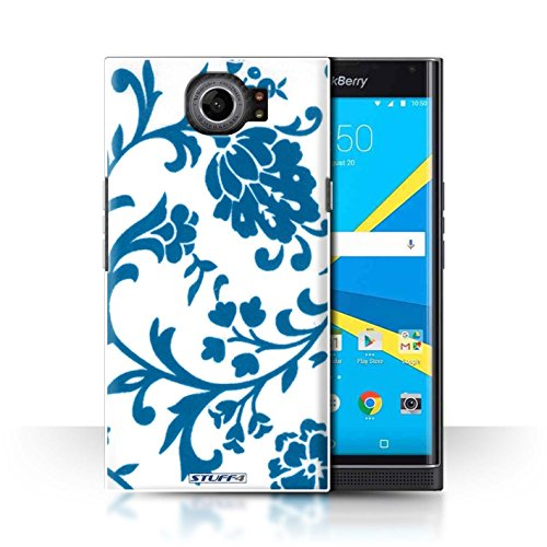 STUFF4 Phone Case / Cover for BlackBerry Priv / Blue Flowers Design / Floral Stamp Pattern Collection - Pattern Plastic Hardback Cover