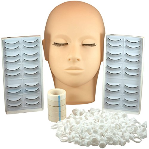 Mannequin Head Eyelash Lash Extension Supplies - Manikin Head for Extensions and Cosmetology; Manican Includes Individual Self Adhesive Practice Lashes, Micropore Eye lash Tape, Glue Rings Ink Cups