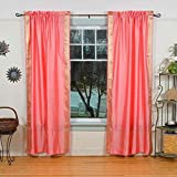 Lined-Pink Rod Pocket Sheer Sari Curtain / Drape / Panel – 80W x 120L – Piece For Sale