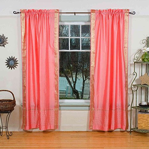 Lined-Pink 84-inch Rod Pocket Sheer Sari Curtain Panel (India) - Pair