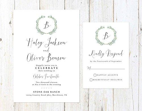 Green Wreath Wedding Invitation, Eucalyptus Wedding Invitation, Watercolor Leaves Wedding Invitation by Alexa Nelson Prints