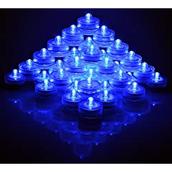 SAMYO Set of 36 Waterproof Wedding Submersible Battery LED Tea Lights Underwater Sub Lights- Wedding Centerpieces Party Decorate (Blue)