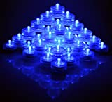 SAMYO Set of 36 Waterproof Wedding Submersible Battery LED Tea Lights Underwater Sub Lights- Wedding Centerpieces Party Decorate (Blue)