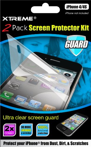 Xtreme 55211 iPhone 4/4S Screen Protector Kit - 1 Pack - Retail Packaging - Clear