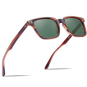 Carfia Chic Retro Polarized Womens Sunglasses UV400 Protection Hand-Polished Acetate Frame