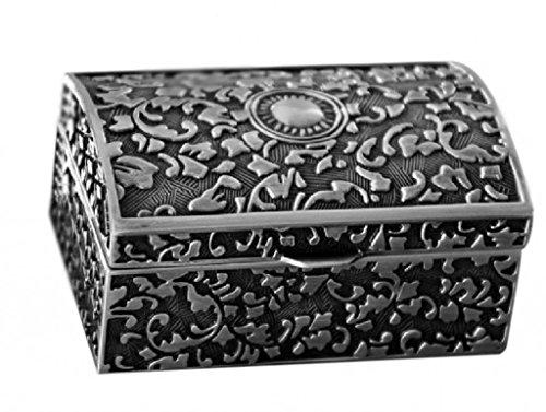 Unendlich U Luxus Schmuckkoffer Vintage Style Antique Rectangle Shape Titans mit Schmuckkästchen für Damen/Mädchen,Reines Zinn-Schmuckstück,Silber