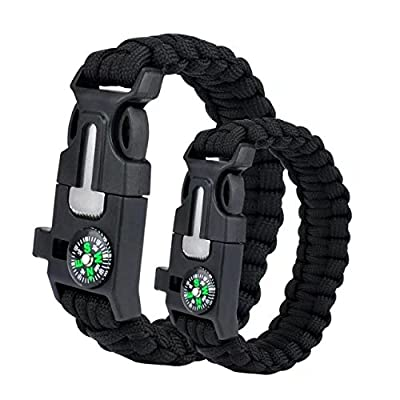 Survival Bracelet,Outdoor Survival Paracord Bracelet Kit with Compass,Whistle,Knife,Flint Fire Starter for Camping Hiking Fishing Running,Pack of 2