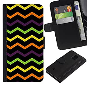Billetera de Cuero Caso Titular de la tarjeta Carcasa Funda para Samsung Galaxy S5 Mini, SM-G800, NOT S5 REGULAR! / Wavy Lines Black Pattern / STRONG