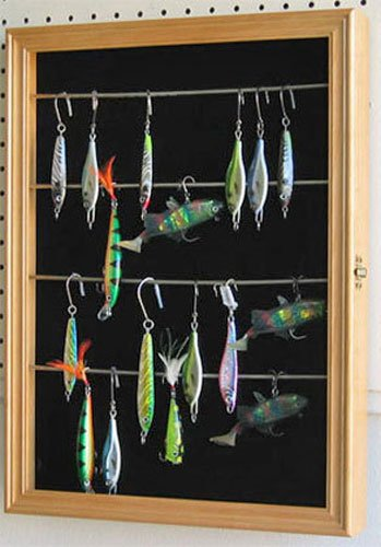 Lure Display (Display Case Wall Cabinet Shadow Box for Fishing Lures Baits Display, FLC01 (Oak))
