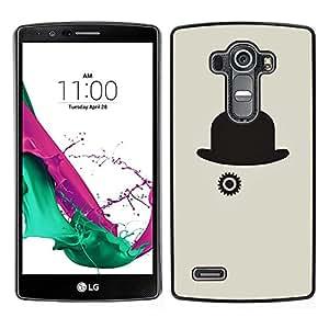LECELL--Funda protectora / Cubierta / Piel For LG G4 -- Sombrero Gris Clever Minimalista Negro --