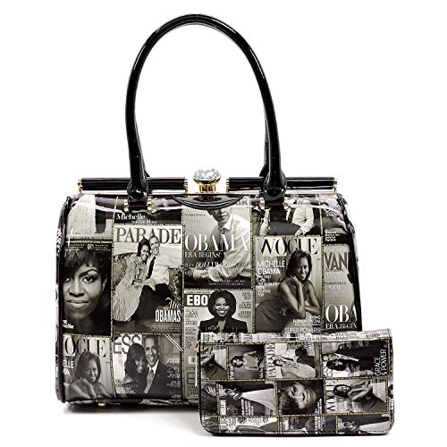 (Glossy Magazine Cover Collage Michelle Obama Printed Metal Framed Boston Satchel Handbag With Crossbody strap + Matching Wallet (2pcs set) (Grey))