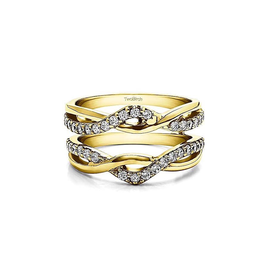 TwoBirch Sterling Silver Criss Cross Infinity Ring Guard Enhancer with Diamonds (G H,I2 I3) (0.23 ct. tw.)