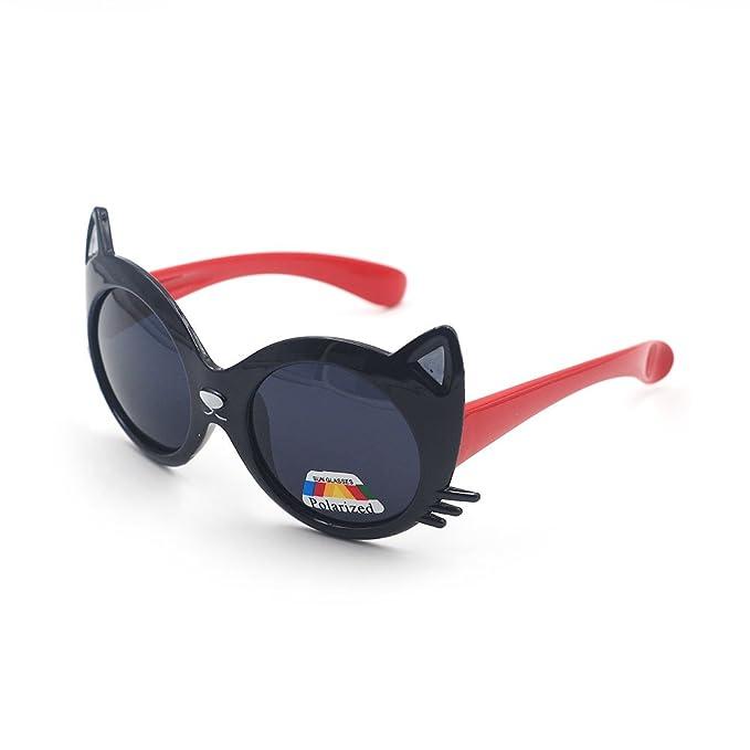 XINPORT Niños gafas de sol en forma de gato, Por xinmade, flexible templo,