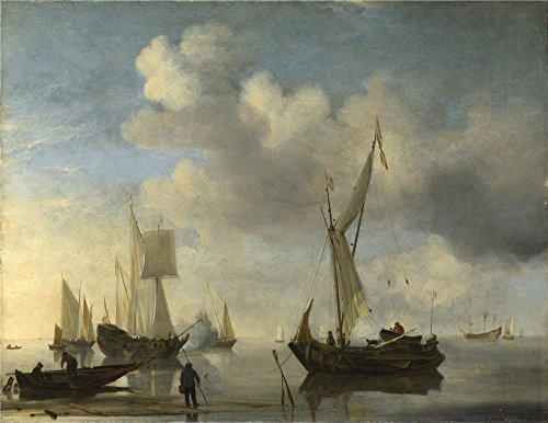 The Perfect Effect Canvas Of Oil Painting 'Willem Van De Velde Dutch Vessels Lying Inshore In A Calm One Saluting ' ,size: 10 X 13 Inch / 25 X 33 Cm ,this Reproductions Art Decorative Prints On Canvas Is Fit For Hallway Artwork And Home Decor And Gifts