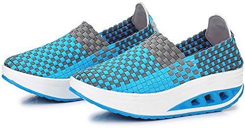 Odema Womens Knitting Platform Shoes Slip On Loafers Fitness Work Out Walking Sneakers Blue pRDtUt