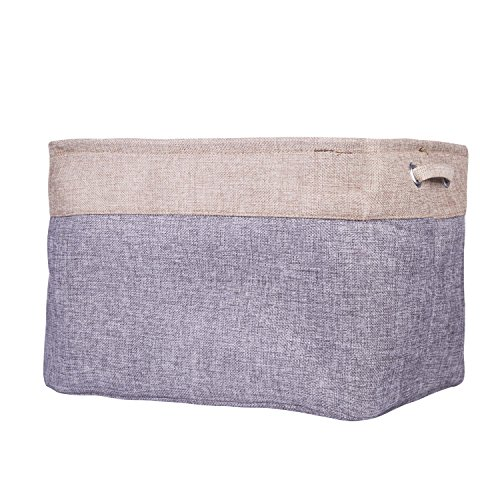 Cotton Jute Fabric Storage Bin Decorative Foldable Organizer Boxes Big Canvas Basket Bag with Handles for Baby Kids Toys Clothes Cars Books